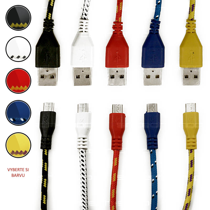 Micro USB kabel 2M Barva: Červená